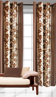 India Furnish Polyester Brown Printed Eyelet Door Curtain
