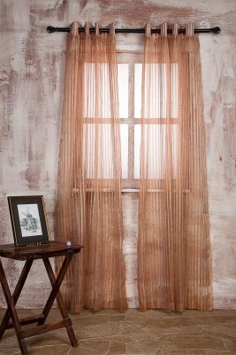 Marigold Polyester PEACHBEIGE Striped Curtain Door Curtain