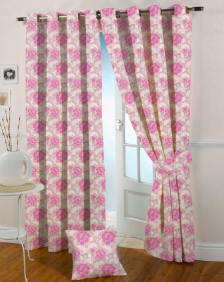 Presto Polyester Pink Abstract Eyelet Window Curtain