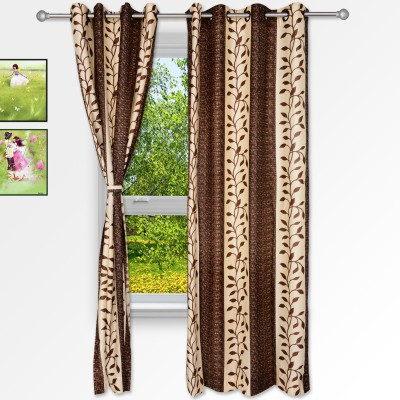 Story @ Home Polyester Brown Floral Eyelet Window Curtain