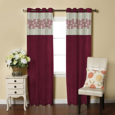 Abhi Décor Polyester Maroon Embroidered Curtain Window Curtain