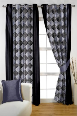 Homec Polyester Grey Printed Eyelet Window & Door Curtain
