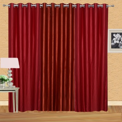 Excel Bazaar Polycotton Red-1rust Plain Eyelet Door Curtain