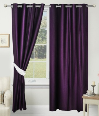 Home Fashion Gallery Polyester Purple Plain Eyelet Long Door Curtain