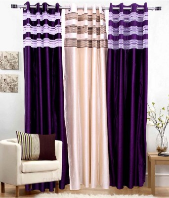 jai ganga curtains Polyester Multi colour Plain Curtain Door Curtain