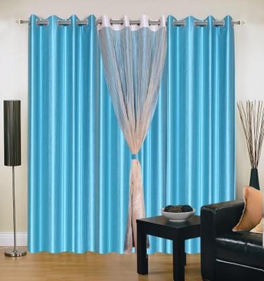 Homesazz Polyester Multicolor Plain Eyelet Door Curtain