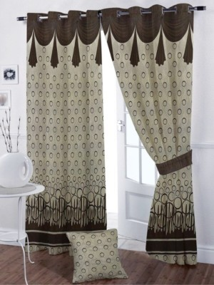 SS Decor Polycotton Brown, Coffee Floral Eyelet Long Door Curtain