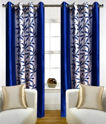 RedHot Polyester Blue Floral Eyelet Long Door Curtain