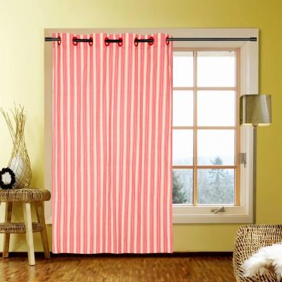 Handloom Factory Cotton Pink Striped Eyelet Window Curtain