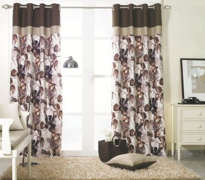 KC HOME Polyester Brown, Grey Floral Curtain Window Curtain