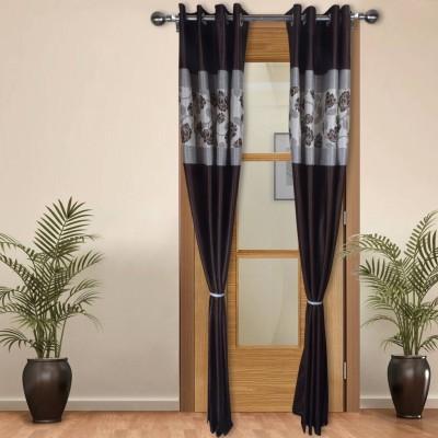 Shoppeholics Polyester Brown, White Self Design Eyelet Door Curtain