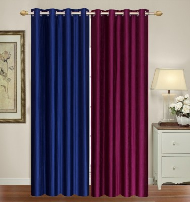 Furnishing Zone Polyester Purple, Blue Plain Eyelet Long Door Curtain