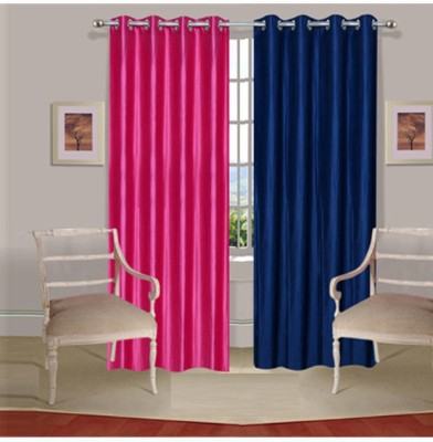 Fogg Polyester Pink, Blue Self Design Eyelet Door Curtain
