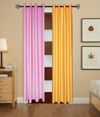 DecoHome Polyester Multicolor Plain Eyelet Door Curtain
