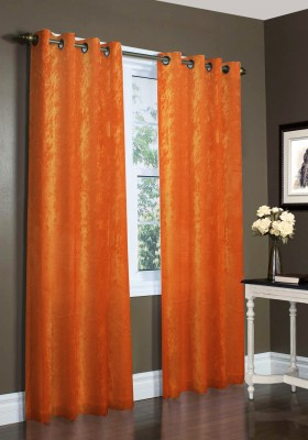 Laura Ethylene Vinyl Acetate Orange Plain Eyelet Window Curtain