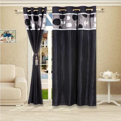 Eyda Polyester Black Abstract Eyelet Door Curtain