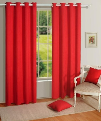 House This Cotton Red Self Design Eyelet Window Curtain