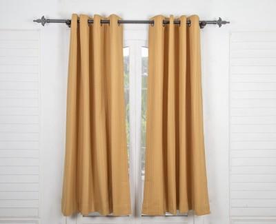 Maspar Cotton Brown Striped Eyelet Window Curtain