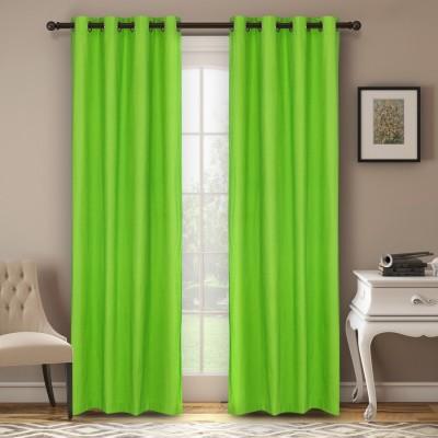Soumya Polycotton Green Plain Eyelet Window Curtain