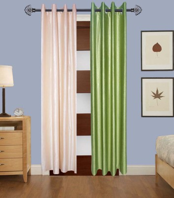 Home Fashion Gallery Polyester Beige, Green Plain Eyelet Long Door Curtain