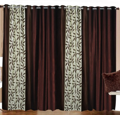 Azaani Polyester Brown Floral Eyelet Window & Door Curtain