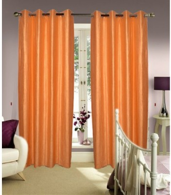 Sls Dreams Polyester Orange Plain Eyelet Long Door Curtain