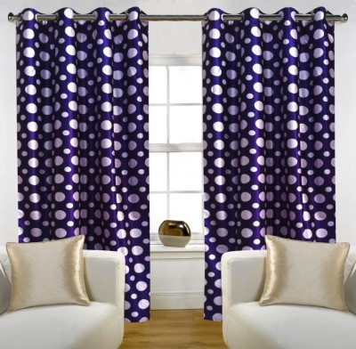 Home Candy Polyester Purple Floral Eyelet Door Curtain