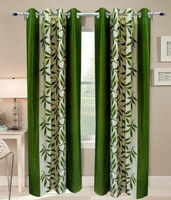 Angel Homes Polyester Green Floral Eyelet Door Curtain