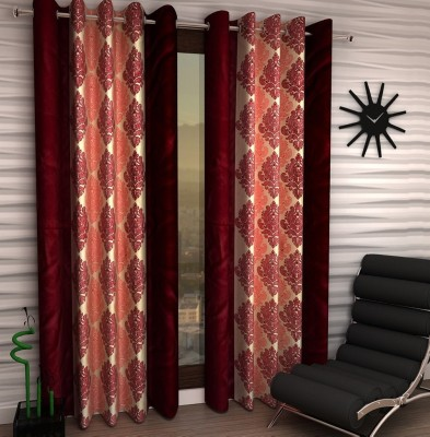 Home Fantasy Polyester Maroon Abstract Eyelet Window Curtain