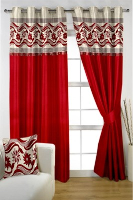 Homec Satin Red Floral Eyelet Window & Door Curtain