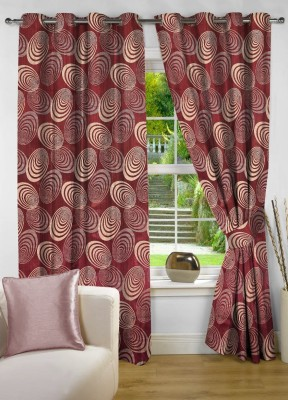 NuHome Decor Polyester Red Abstract Eyelet Door Curtain