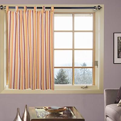 Handloom Factory Cotton White Striped Tab Top Window Curtain