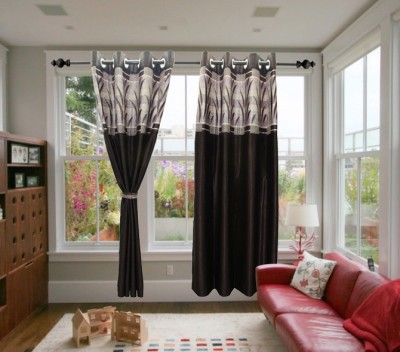Textile O Craft Polyester Brown Solid Eyelet Window Curtain