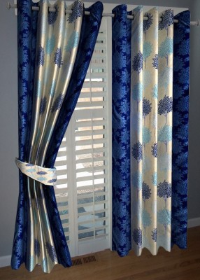 ABhomedecor Polyester Multicolor Floral Eyelet Long Door Curtain