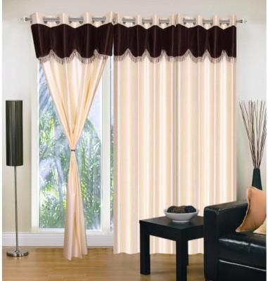 Handloom Hut Polyester Cream Solid Eyelet Door Curtain