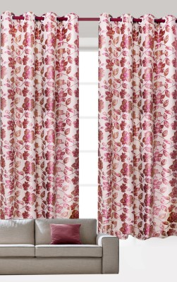 India Furnish Polycotton Pink Floral Eyelet Door Curtain