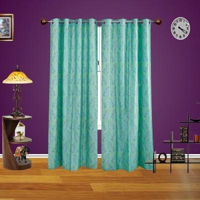 Harry Tex Polyester AQUA Floral Eyelet Door Curtain