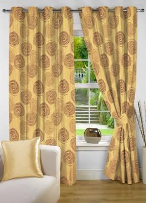 NuHome Decor Polyester Gold Printed Eyelet Long Door Curtain