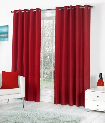 The Decor Store Polyester Maroon Plain Eyelet Window Curtain
