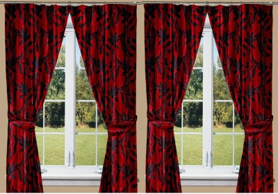 Threadmix Polyester Maroon Abstract Eyelet Window Curtain