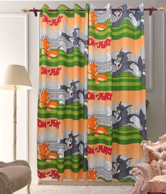 ComfortHome Polyester Multicolour Printed Ring Rod Long Door Curtain