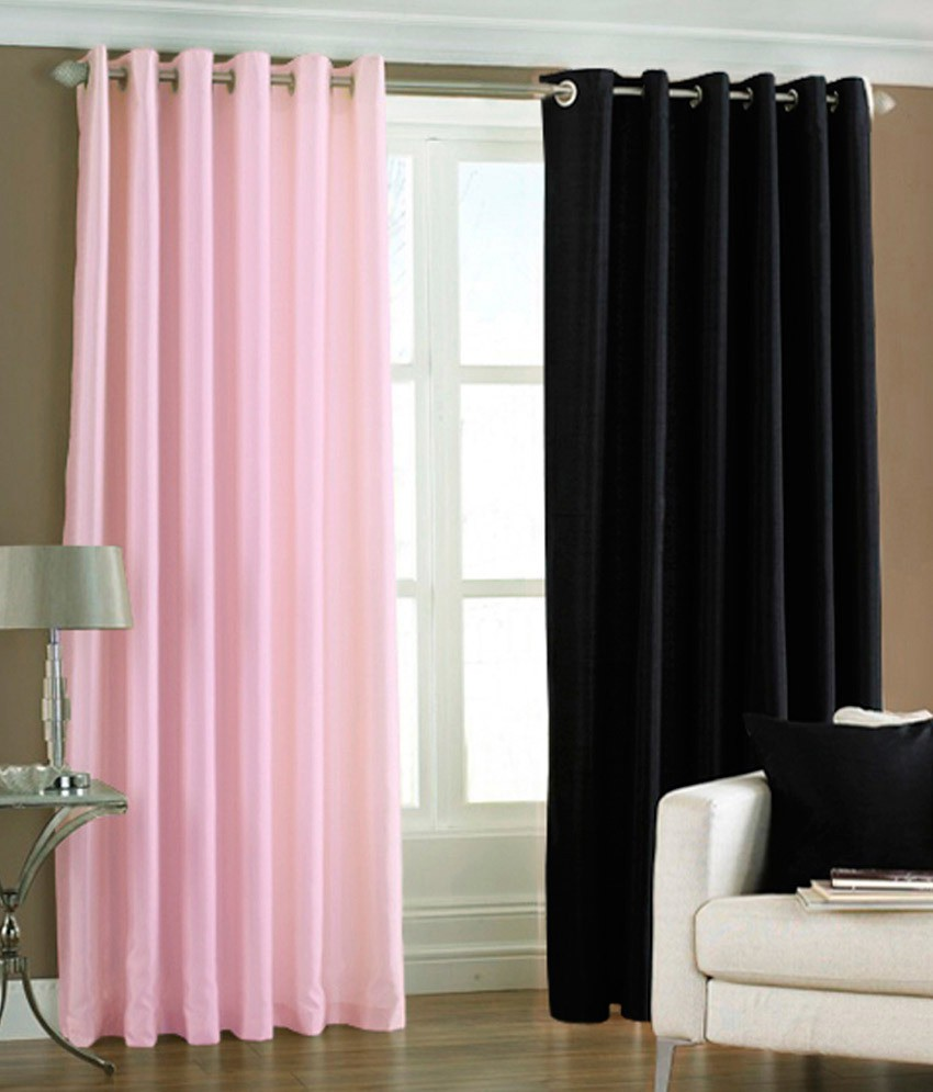 the decor store polyester baby pink black plain eyelet window curtain - The Decor Store