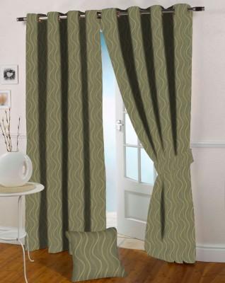 Presto Polycotton Green Floral Eyelet Door Curtain