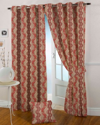Presto Polyester Maroon Solid Eyelet Door Curtain