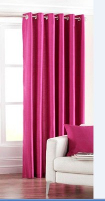 Mirchifry Polyester Pink Solid Eyelet Window Curtain