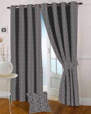 Presto Polyester Brown Abstract Eyelet Door Curtain