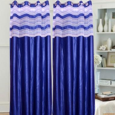 Brabuon Polyester Blue Plain Eyelet Door Curtain