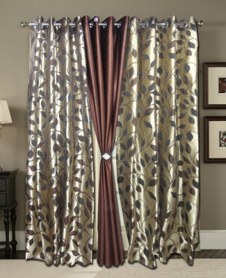 Zigma Collections Polyester Brown Printed Eyelet Door Curtain