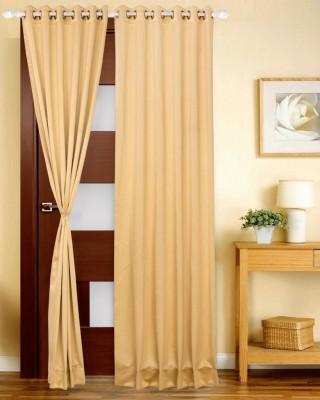 Just Linen Polyester Tan Solid Eyelet Door Curtain