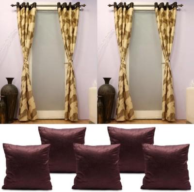 HOMESAZZ Polyester Brown Printed Eyelet Door Curtain